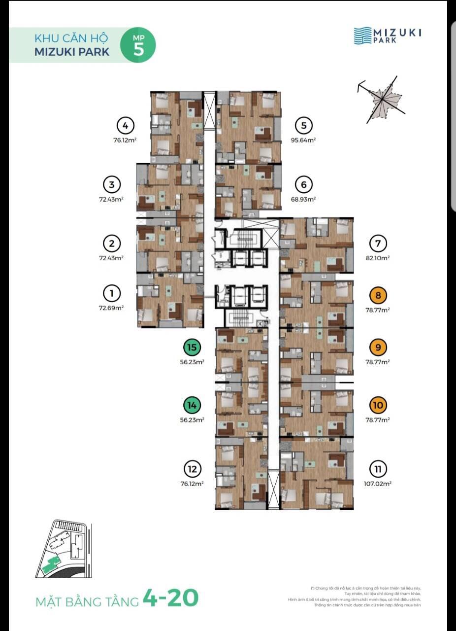 Mặt bằng căn hộ MP5 - Tầng 4 - 20