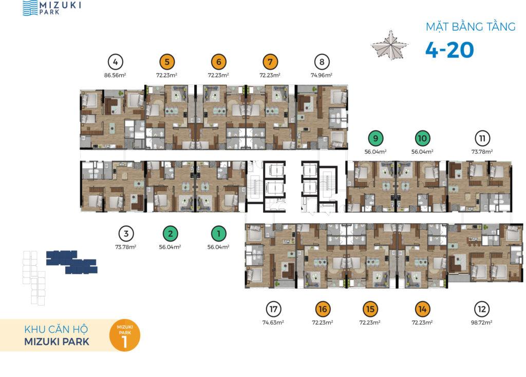 Mặt bằng căn hộ lầu 4 - 20 - MP1