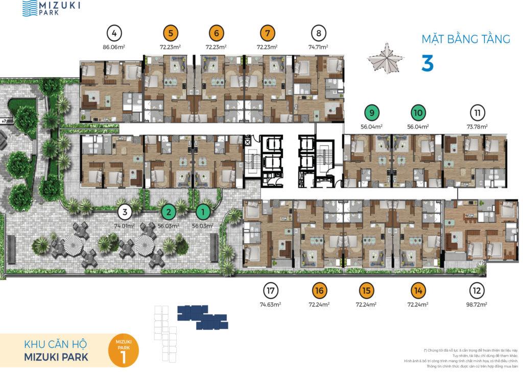 Mặt bằng căn hộ lầu 3 - MP1