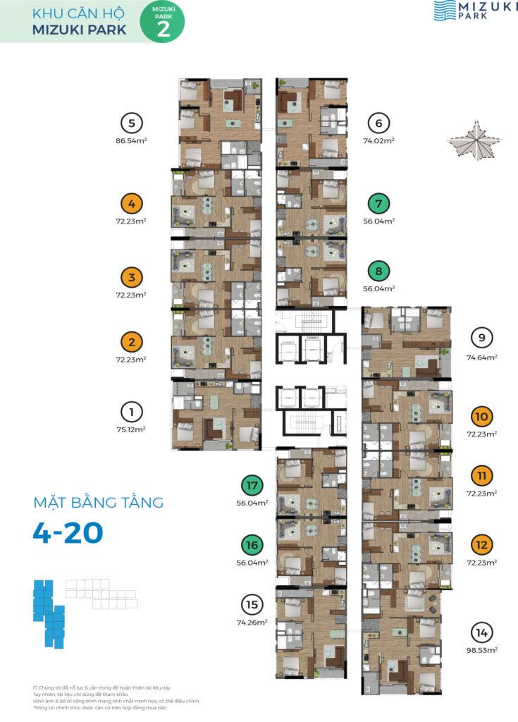 Mizuki Park Căn góc, lầu cao view hướng Đông giá 2.48 tỷ MAT BANG MP2 LAU 4 20 1