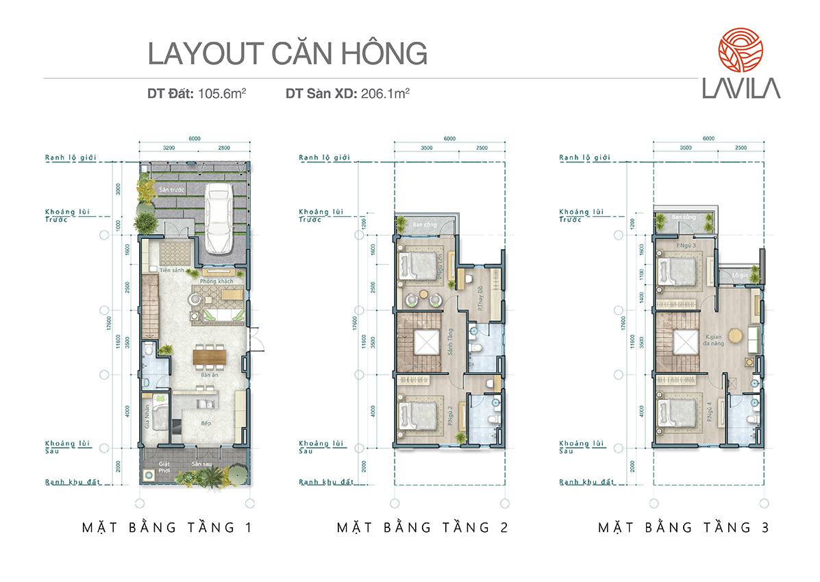 Layout căn hông 105 m2, 206 m2 sàn