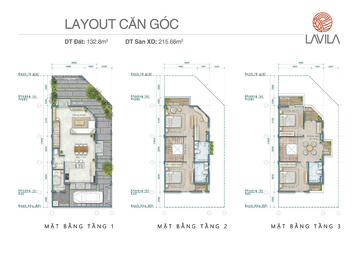 Layout căn góc 132m2 đất, 215 m2 sàn