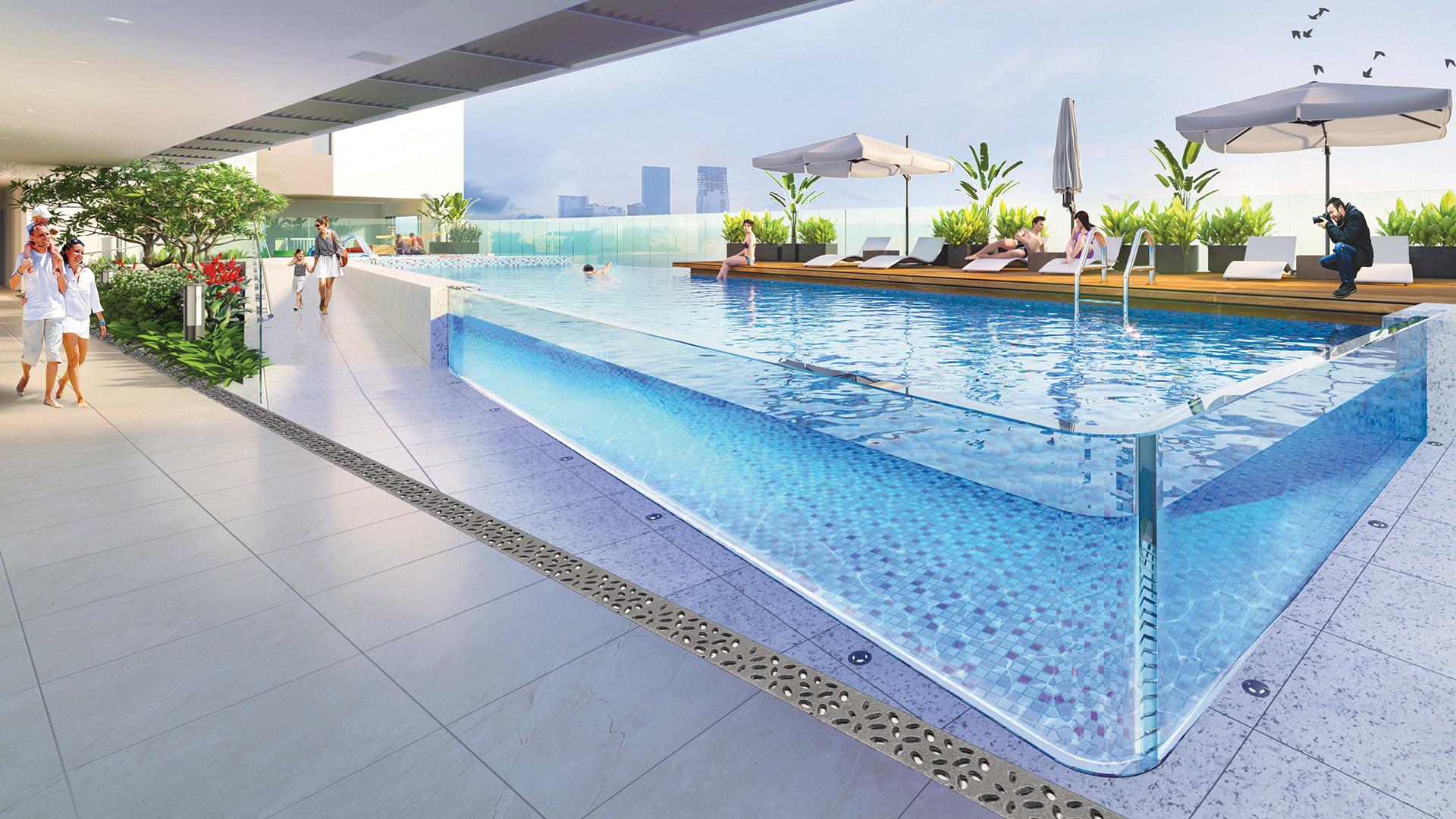 Tiện ích hồ bơi xuyên thấu tại Happy Residece