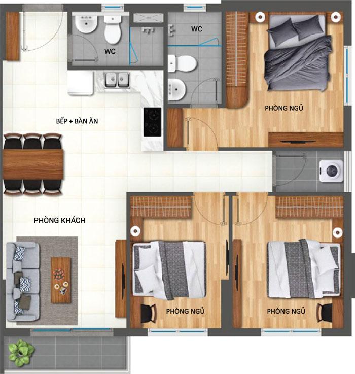 Bán giá gốc căn hộ Lovera Vista 3PN, 82m2 -2.75 tỷ lovera vista c2 typle 1